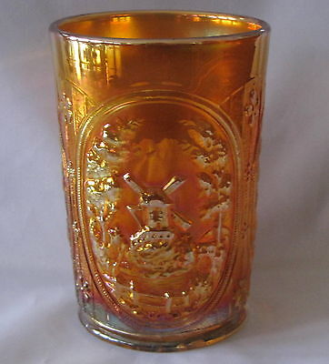TUMBLER Imperial Marigold Carnival WINDMILL Vintage Drinking Glass