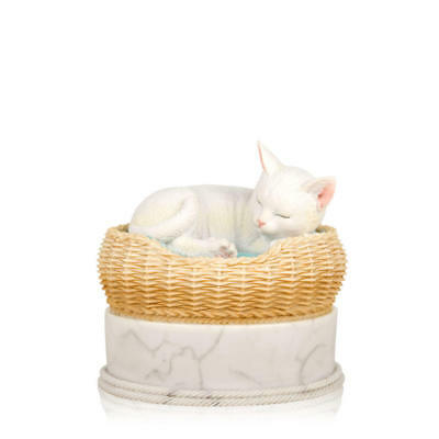 Perfect Memorials Hand Painted White Cat in Basket Cremation Urn