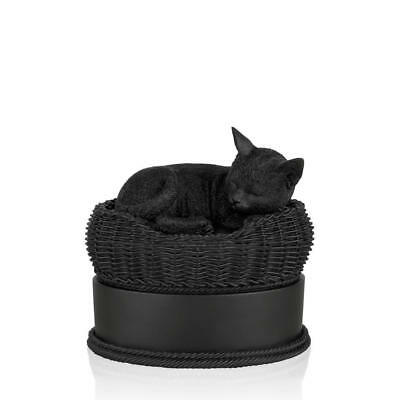 Perfect Memorials Black Cat in Basket Cremation Urn