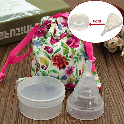 4PCS Female Menstrual Cup Medical Silica Gel Foldable Recycling Use Transparent