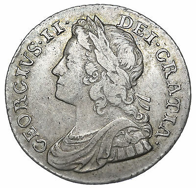 1737 Shilling - George Ii British Silver Coin - V Nice
