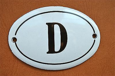 Small antique style enamel metal sign D plaque door sign furniture plaque