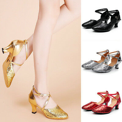 Women Salsa Tango Latin Ballroom Dance Shoes Sequins Dancing Shoes Heel 5.5 CM
