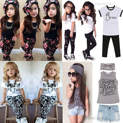 Cool Baby Kids Girl Headband T-shirt Pants Dress Summer Outfits Clothes Set 2-7Y