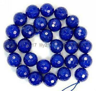 Beautiful 8mm Faceted Blue Sapphire Gemstone Round Loose Beads 15'' AAA