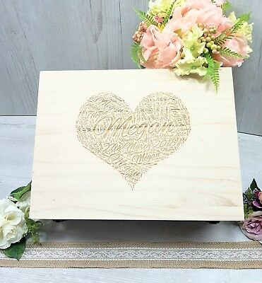 Personalised Engraved Baby Wooden Birth Keepsake Memory Memory Box HEART LARGE