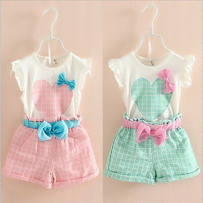 2pcs Toddler Kids Baby Girls T-shirt Tops+Shorts Pants Outfit Clothes Set 2-7Y