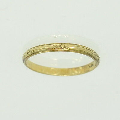 Vintage 14k Yellow Gold Etched Patterned Wedding Band Estate Ring Small 3 3/4