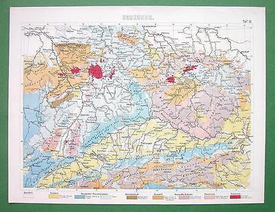 Geological Map Of Central Europe 1870 Color Antique Print 12 60