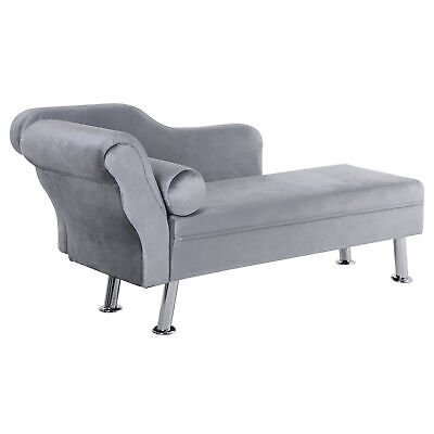 HOMCOM Chaise Longue Vintage Arm Rest Sofa Seat Cushion Sponge Grey Modern