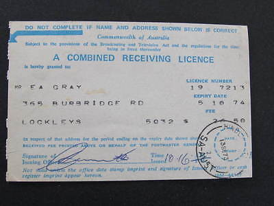 Television Combined Receiving Licence South Australia postmarked Hindley Street