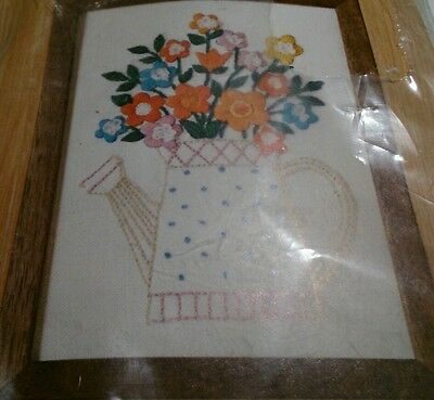 "Watering Can Floral Crewel Kit 5"" x 7"" Caron Hallmark Design Collection"