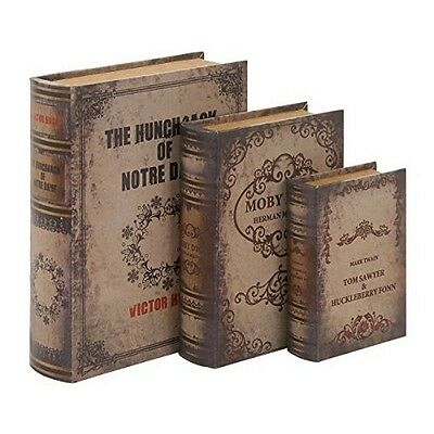 """Deco 79 59355 Wood Leather Book Box 13 by 11 by 8"""" Faded Tan Set of 3 NEW"""
