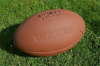 Vintage style embossed tan leather Wales rugby ball retro rugby ball