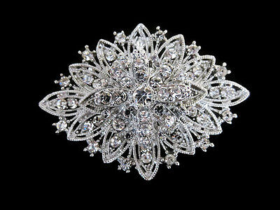 Vintage Inspired Womens Rhinestone Crystal Flower Diamond Brooch Wedding Party