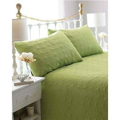 Green Leaf 3Pc Embossed Bedspread & Pillow Shams 240x260cm Double/King NEW