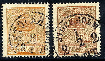 SWEDEN 1864-66  Lion 3 öre in two shades, fine used