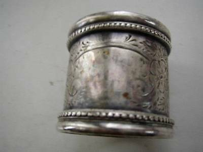 Antique, Silver Napkin Ring with Engraved Floral Decoration