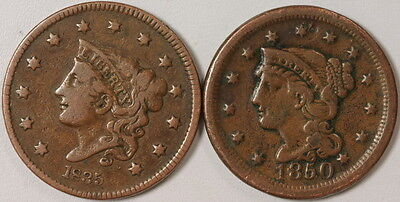 2 US Mint Large .01 One Cents 1835 1850 Coins