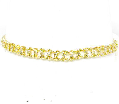 Ladies 14k Yellow Gold 1 Cttw Diamond Double Rope Tennis Estate Bracelet 7""