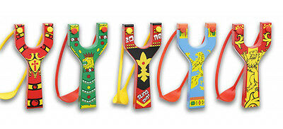 Wooden Slingshot Catapult With Coloured Rubber Medieval Printed Style 5 Designs