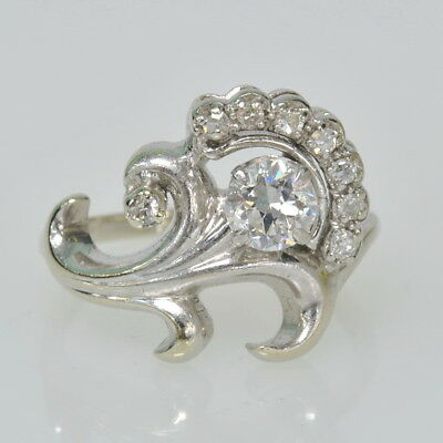 Antique 14K White Gold 5/8 CT Tw Diamond Right Hand Cocktail Cluster Estate Ring