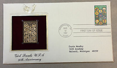 US FDC 1987 Girl Scouts 75th Anniversary 22k Gold Replica Stamp Typed Address!|