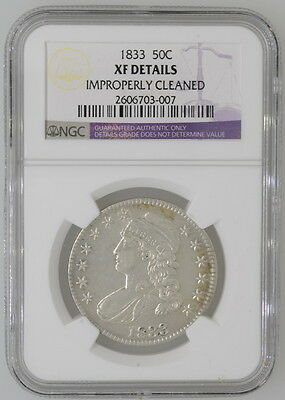 1833 .50 Early Capped Half Dollar NGC Certified XF Details Coin