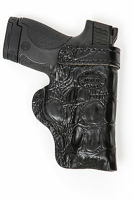HD GLOCK 42,43,19 Black GATOR Leather Gun Belt Conceal Pistol Holster Right IWB/
