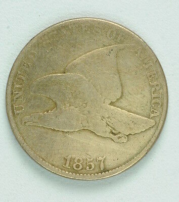 1857 US United States Flying Eagle Fine Condition One Cent 1 Coin