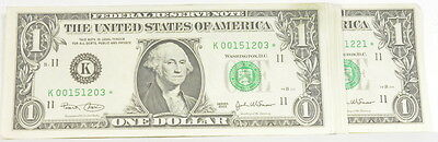2003 Lot of 19 US Uncirculated $1 One Dollar Star Paper Note Consecutive Serials