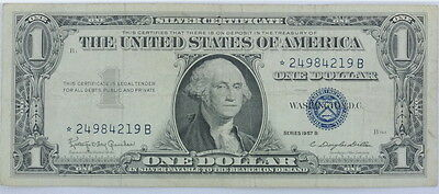 1957 Series US $1 One Dollar Star Note Silver Certificate Small Note P254076