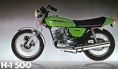 KAWASAKI Poster H1 H1D Mach III 1973 500 Suitable to Frame