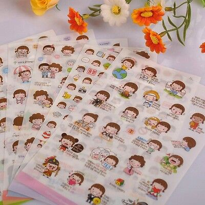 Girl Cartoon 6 Sheet Diary Scrapbook Decor Cute Masking Paper Sticker Tags CA
