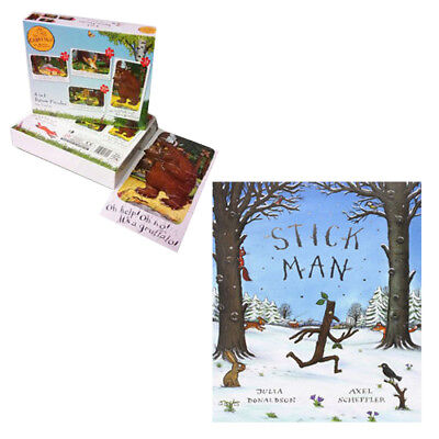 The Gruffalo 4 in 1 Jigsaw Puzzles Pack With Stick Man By Julia Donaldson New