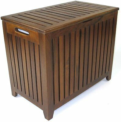 Redmon Genuine Vanity Style Bench Seat Hamper Made with Genuine Teak Wood 5317