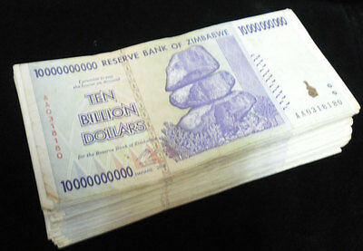 ZIMBABWE 10 BILLION DOLLARS P 85 CIRCULATED USED in 100 TRILLION SERIE = 1 NOTE
