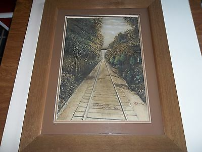 Antique Historic Painting - Madison (In) R.r. Incline -Chas R. Monroe-1936 -