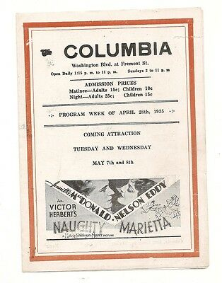 1935 Columbia theatre flyer Naughty Marietta and others