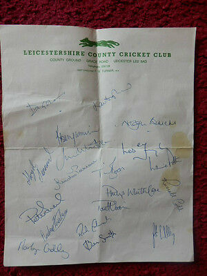 Leicestershire County Cricket Club Autographs