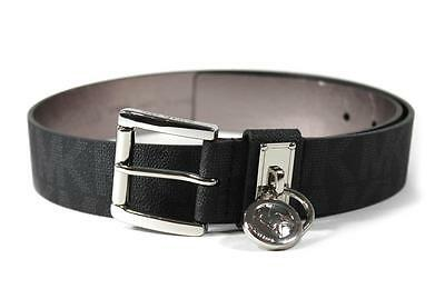 New Michael Kors Women's MK Logo Silver Black Hamilton Lock Monogram Belt 553305