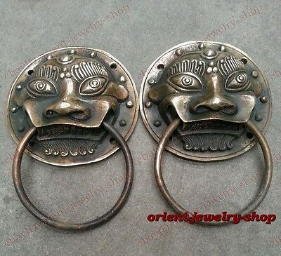 Old Bronze A Pair old Lucky statue foo dog lion Rare door knocker 7cm