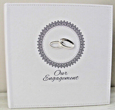 Engagement White Faux Leather Silver Photo Album Wedding Gift & Engraving Plate