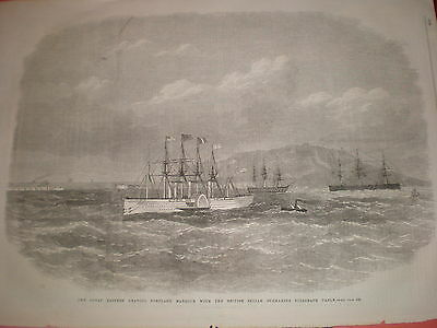 SS Great Eastern leaving Portland Harbour 1869 old print