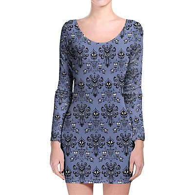 Haunted Mansion Wallpaper Longsleeve Bodycon Dress