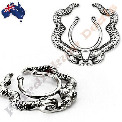 316L Surgical Steel Silver Ion Plated Clip on Whispering Snakes Nipple Ring