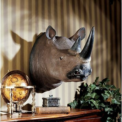 Unique African Black Rino Trophy Head Massive Sculpture Home Decor Wall Art New
