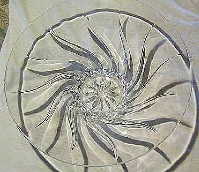 J G DURAND 14 in FRENCH CRYSTAL BOWL CLERVAL SWIRL