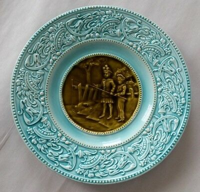 Antique Villeroy & Boch Schramberg Majolica Plate Children Fishing