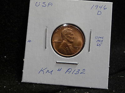 Usa:   1946 D   Lincoln Wheat Cent Coin  (Unc.) (#55)    Km # A132